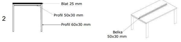 Biurko EVRO EVB 13 - 15 stelaż otwarty - 2. stelaż otwarty bez dystnsu