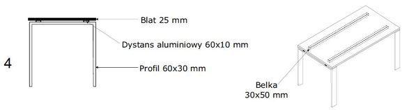 Biurko - blat EVRO EVB 22 - 24 stelaż otwarty - 4. stelaż otwarty z dystansem
