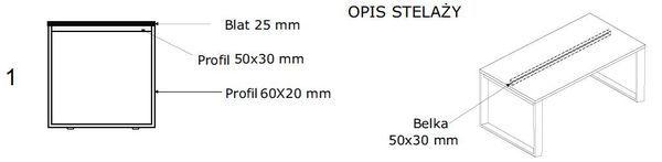 Biurko EVRO EVB 16 - 18 stelaż zamknięty - 1. stelaż zamknięty bez dystansu
