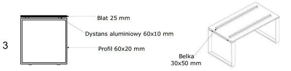 Biurko EVRO EVB 13 - 15 stelaż zamknięty - 3. stelaż zamknięty z dystansem