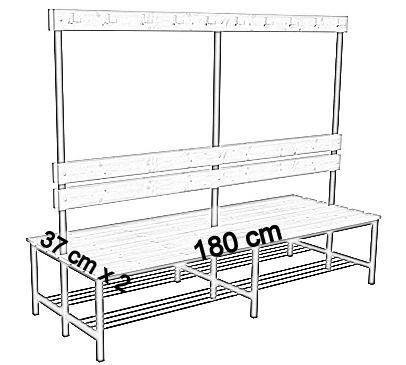 Ławka korytarzowa Premium 2-str. z oparciem, wieszakiem i półką 1m, 1,2m, 1,5m, 1,8m, 2,0m. - dwustronna z oparciem, wieszakami i półką 180 cm