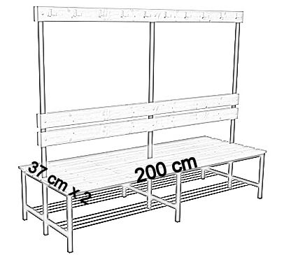 Ławka korytarzowa Premium 2-str. z oparciem, wieszakiem i półką 1m, 1,2m, 1,5m, 1,8m, 2,0m. - dwustronna z oparciem, wieszakami i półką 200 cm