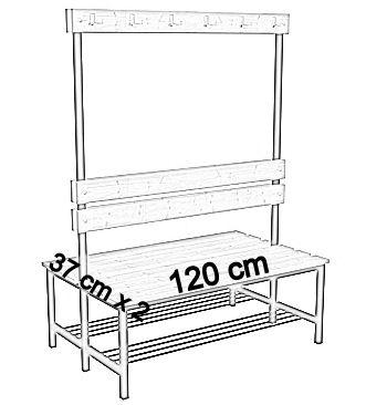 Ławka korytarzowa Premium 2-str. z oparciem, wieszakiem i półką 1m, 1,2m, 1,5m, 1,8m, 2,0m. - dwustronna z oparciem, wieszakami i półką 120 cm