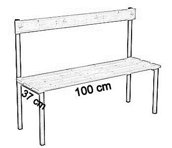 Ławka korytarzowa Classic z oparciem długości 1m, 1,5m z desek - jednostronna z oparciem deska sosnowa 100 cm