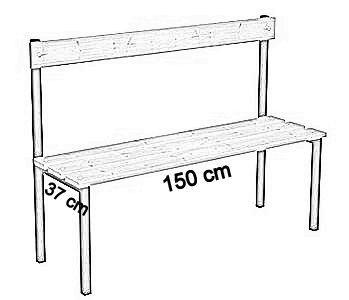 Ławka korytarzowa Classic z oparciem długości 1m, 1,5m z desek - jednostronna z oparciem deska sosnowa 150 cm