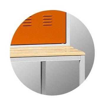Szafa metalowa szkolna skrytkowa BHP/2/6MS - ławka podstawa 600 mm