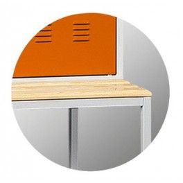 Szafa metalowa szkolna ubraniowa BHP/4/4MP - ławka podstawa 1200 mm