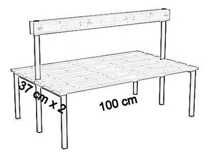 Ławka korytarzowa Classic 2 str. z oparciem długości 1m, 1,5m z desek  - dwustronna z oparciem deska sosnowa 100 cm