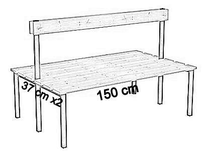 Ławka korytarzowa Classic 2 str. z oparciem długości 1m, 1,5m z desek  - dwustronna z oparciem deska sosnowa 150 cm