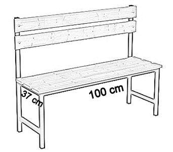 Ławka korytarzowa Premium 1-str. z oparciem, długości 1m, 1,2m, 1,5m, 1,8m, 2,0m. - jednostronna z oparciem 100 cm