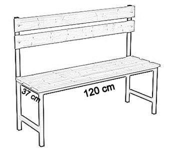 Ławka korytarzowa Premium 1-str. z oparciem, długości 1m, 1,2m, 1,5m, 1,8m, 2,0m. - jednostronna z oparciem 120 cm