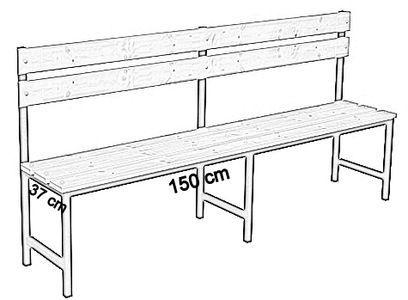 Ławka korytarzowa Premium 1-str. z oparciem, długości 1m, 1,2m, 1,5m, 1,8m, 2,0m. - jednostronna z oparciem 150 cm
