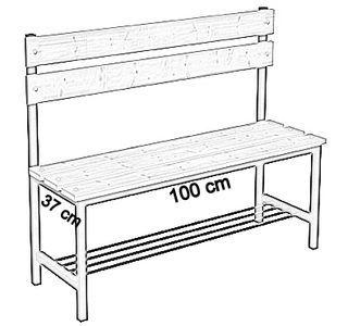 Ławka korytarzowa Premium 1-str. z oparciem i półką, długości 1m, 1,2m, 1,5m, 1,8m, 2,0m - jednostronna z oparciem i półką 100 cm