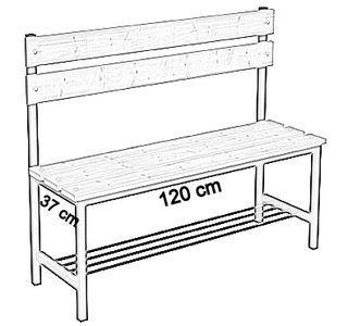 Ławka korytarzowa Premium 1-str. z oparciem i półką, długości 1m, 1,2m, 1,5m, 1,8m, 2,0m - jednostronna z oparciem i półką 120 cm