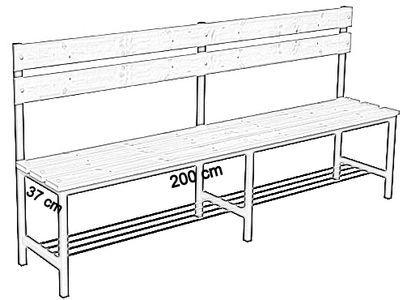 Ławka korytarzowa Premium 1-str. z oparciem i półką, długości 1m, 1,2m, 1,5m, 1,8m, 2,0m - jednostronna z oparciem i półką 200 cm