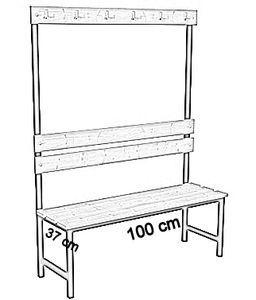 Ławka korytarzowa Premium 1-str. z oparciem i wieszakiem długosc 1m, 1,2m, 1,5m, 1,8, 2,0m - jednostronna z oparciem i wieszakami 100 cm