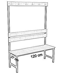 Ławka korytarzowa Premium 1-str. z oparciem i wieszakiem długosc 1m, 1,2m, 1,5m, 1,8, 2,0m - jednostronna z oparciem i wieszakami 120 cm