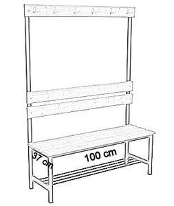 Ławka korytarzowa Premium 1-str. z oparciem, wieszakiem i półką długości 1m, 1,2m, 1,5m, 1,8m, 2,0m. - jednostronna z oparciem, wieszakami i półką 100 cm
