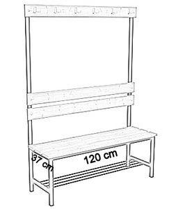 Ławka korytarzowa Premium 1-str. z oparciem, wieszakiem i półką długości 1m, 1,2m, 1,5m, 1,8m, 2,0m. - jednostronna z oparciem, wieszakami i półką 120 cm