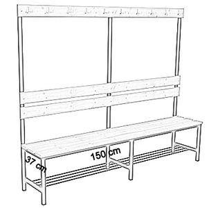 Ławka korytarzowa Premium 1-str. z oparciem, wieszakiem i półką długości 1m, 1,2m, 1,5m, 1,8m, 2,0m. - jednostronna z oparciem, wieszakami i półką 150 cm