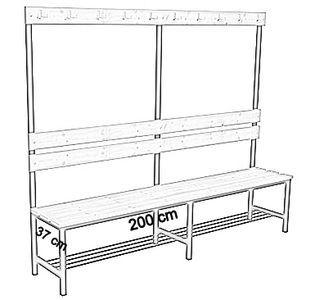 Ławka korytarzowa Premium 1-str. z oparciem, wieszakiem i półką długości 1m, 1,2m, 1,5m, 1,8m, 2,0m. - jednostronna z oparciem, wieszakami i półką 200 cm