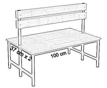 Ławka korytarzowa Premium 2-str. z oparciem, długość 1m, 1,2m, 1,5m, 1,8m, 2,0m.  - dwustronna z oparciem 100 cm