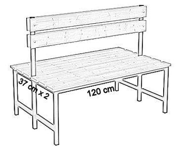 Ławka korytarzowa Premium 2-str. z oparciem, długość 1m, 1,2m, 1,5m, 1,8m, 2,0m.  - dwustronna z oparciem 120 cm