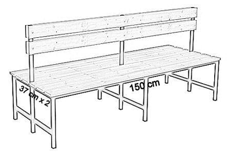 Ławka korytarzowa Premium 2-str. z oparciem, długość 1m, 1,2m, 1,5m, 1,8m, 2,0m.  - dwustronna z oparciem 150 cm