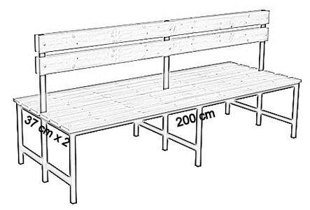 Ławka korytarzowa Premium 2-str. z oparciem, długość 1m, 1,2m, 1,5m, 1,8m, 2,0m.  - dwustronna z oparciem 200 cm