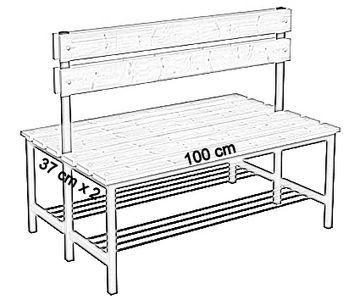 Ławka korytarzowa Premium 2-str. z oparciem i półką, długość 1m ,1,2m, 1,5m, 1,8m, 2,0m. - dwustronna z oparciem i półką 100 cm