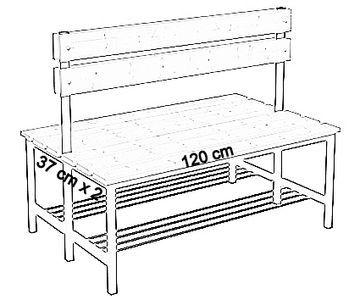Ławka korytarzowa Premium 2-str. z oparciem i półką, długość 1m ,1,2m, 1,5m, 1,8m, 2,0m. - dwustronna z oparciem i półką 120 cm