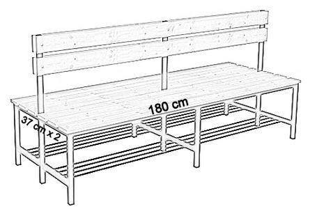 Ławka korytarzowa Premium 2-str. z oparciem i półką, długość 1m ,1,2m, 1,5m, 1,8m, 2,0m. - dwustronna z oparciem i półką 180 cm