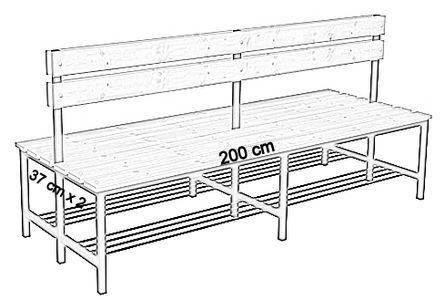 Ławka korytarzowa Premium 2-str. z oparciem i półką, długość 1m ,1,2m, 1,5m, 1,8m, 2,0m. - dwustronna z oparciem i półką 200 cm