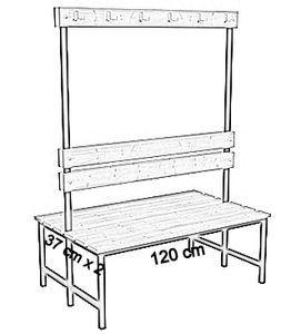 Ławka korytarzowa Premium 2-str. z oparciem i wieszakiem 1m, 1,2m, 1,5m, 1,8m, 2,0m. - dwustronna z oparciem i wieszakami 120 cm