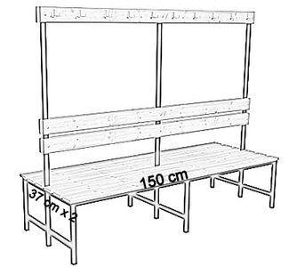 Ławka korytarzowa Premium 2-str. z oparciem i wieszakiem 1m, 1,2m, 1,5m, 1,8m, 2,0m. - dwustronna z oparciem i wieszakami 150 cm