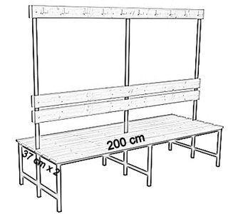 Ławka korytarzowa Premium 2-str. z oparciem i wieszakiem 1m, 1,2m, 1,5m, 1,8m, 2,0m. - dwustronna z oparciem i wieszakami 200 cm