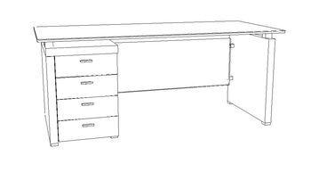 Biurko gabinetowe X-201 - szuflady po lewej stronie