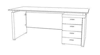 Biurko gabinetowe X-201 - szuflady po prawej stronie
