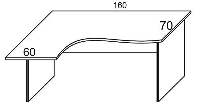 Biurko PRIMUS PB51/53/55 lewe - szer.1600/600 mm L