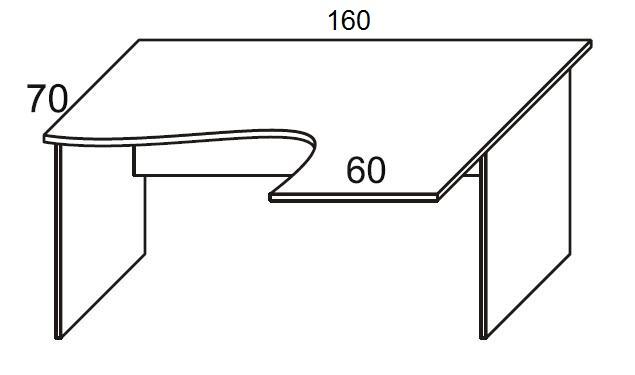 Biurko PRIMUS PB52/54/56 prawe - szer. 160/60 P