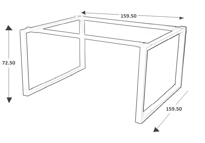 Stelaż skręcany do stołu i biurka EF-WT-131/132 aluminium - 159,5x159,5x72,5H