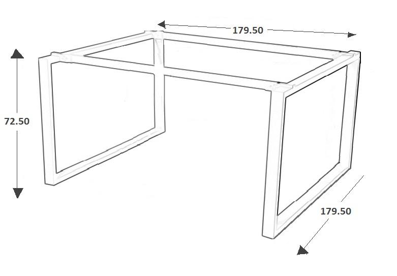 Stelaż skręcany do stołu i biurka EF-WT-131/132 aluminium - 179,5x179,5x72,5H