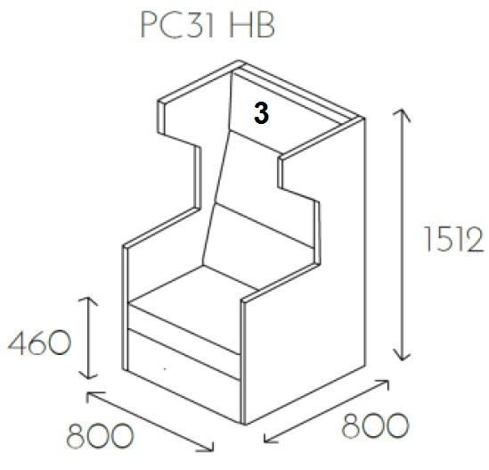 Fotel jednoosobowy PL@NET PC31 HB - Rezygnacja z poduszki numer 3