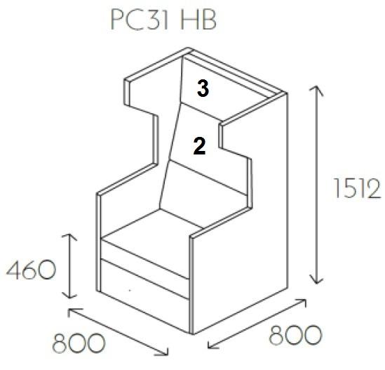 Fotel jednoosobowy PL@NET PC31 HB - Rezygnacja z poduszki numer 2 i 3