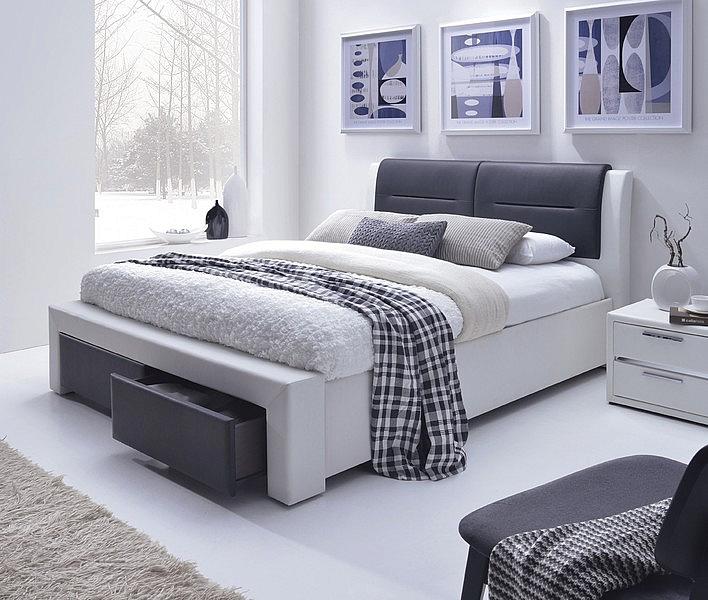 CASSANDRA S łóżko tapicerowane z szufladami czarno-biały (5p=1szt)