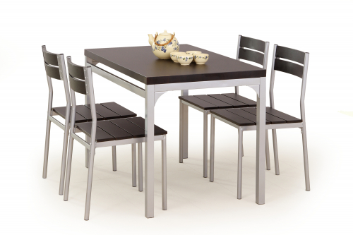 Zestaw: stół MALCOLM + 4 krzesła wenge