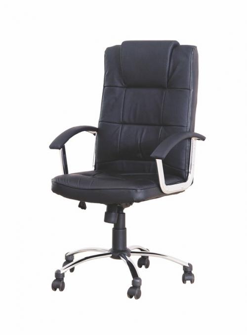 DALTON fotel gabinetowy czarny - skóra