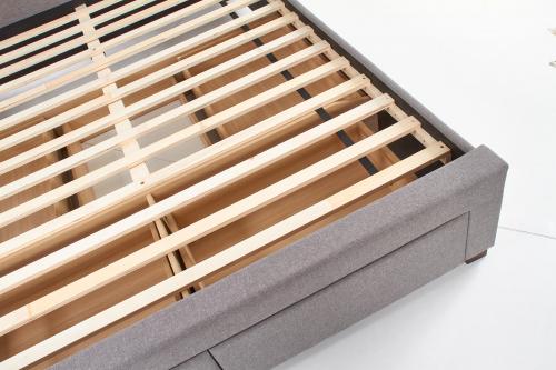MODENA 140 cm łóżko tapicerowane z szufladami popiel