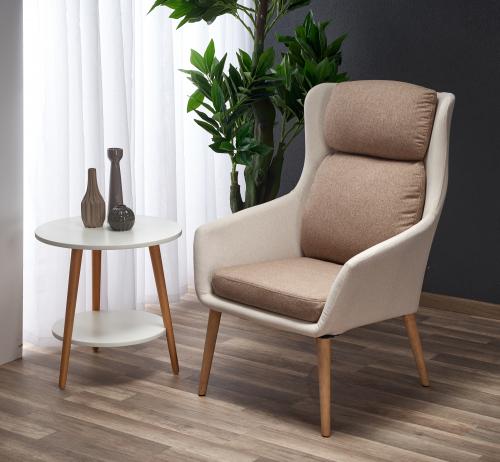 PURIO fotel wypoczynkowy beżowy / brązowy