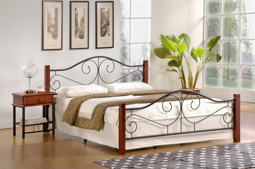 VIOLETTA 140 cm łóżko czereśnia ant./czarny ze stelażem